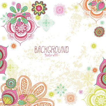 cartoon flowers with grunge background vectors