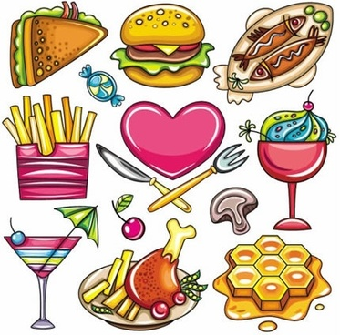 cartoon food illustration stickers vector