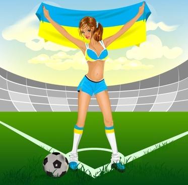 Cartoon football elements 02 vector