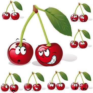 cartoon fruit expression 05 vector