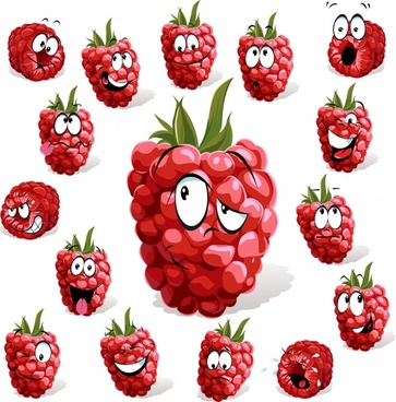 raspberry fruit icons funny stylized emotional faces sketch