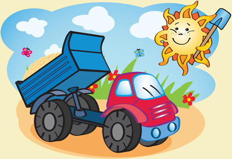 cartoon funny car design vector