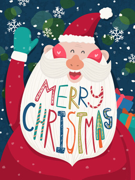 cartoon funny santa claus with christmas elements vector
