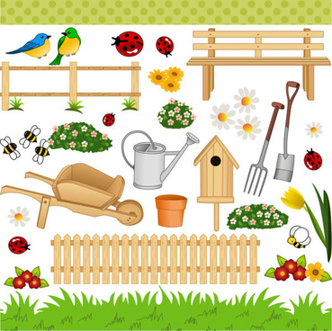 cartoon gardens art vector birdcarelesscrawl