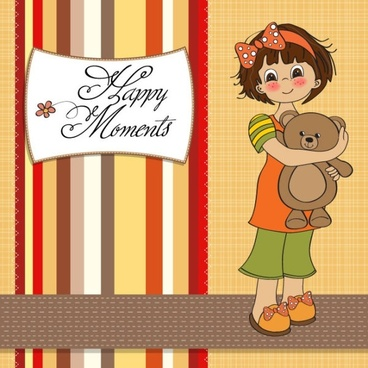 cartoon girl card 02 vector