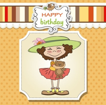cartoon girl card 03 vector