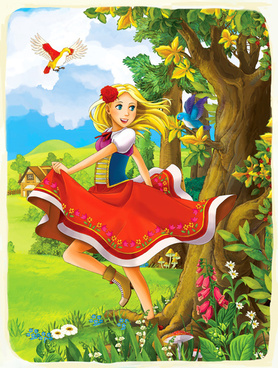 cartoon girl with fairy tale world vector