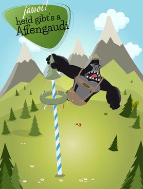 cartoon gorilla and mountains vector