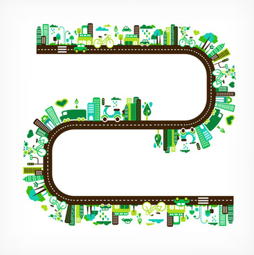 cartoon green city elements vector
