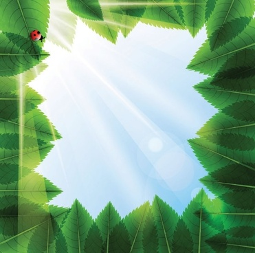 cartoon green leaf background vector