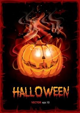 halloween background template frightening mysterious pumpkin dark design