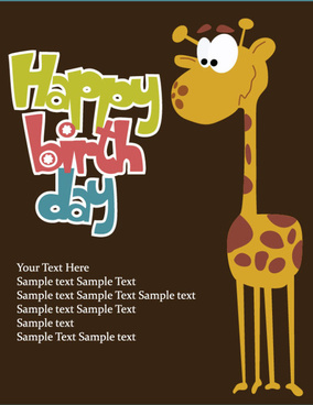 cartoon happy birthday postcard vector