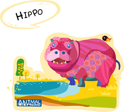 cartoon hippo vector art