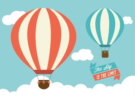 cartoon hot air balloon with cloud vector
