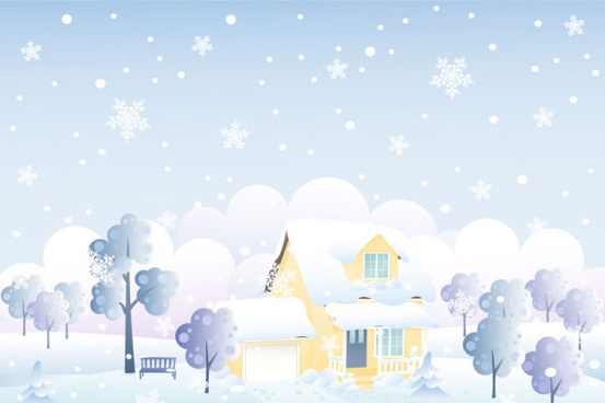 cartoon house and snow design vector set