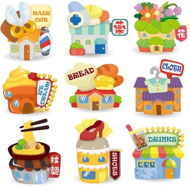 cartoon houses 01 vector