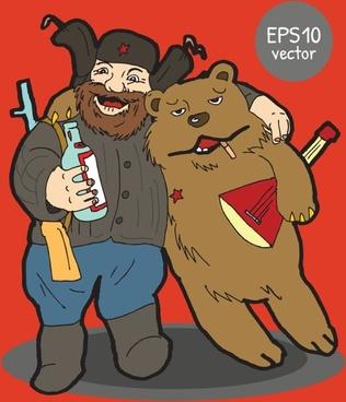 Cartoon hunter with bear vector