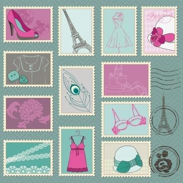 cartoon illustration stamp 03 vector