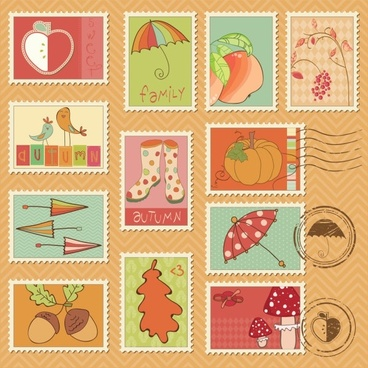 cartoon illustration stamp 04 vector