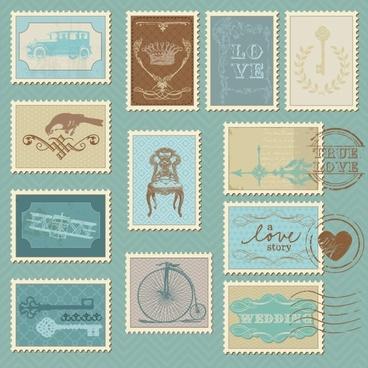 cartoon illustration stamp 05 vector
