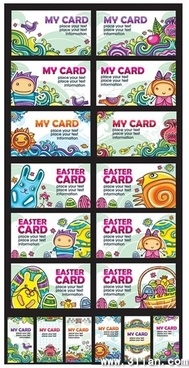 card templates collection cute colorful cartoon decor
