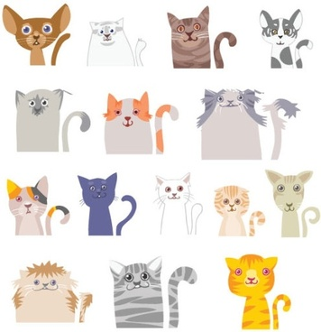 cartoon illustrations cat 01 vector