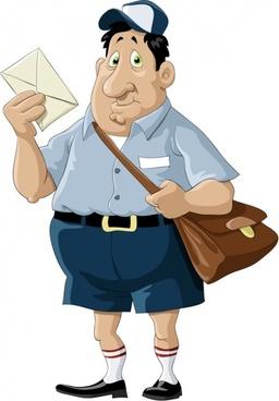 Mailman image, cartoon, illustration, clip art