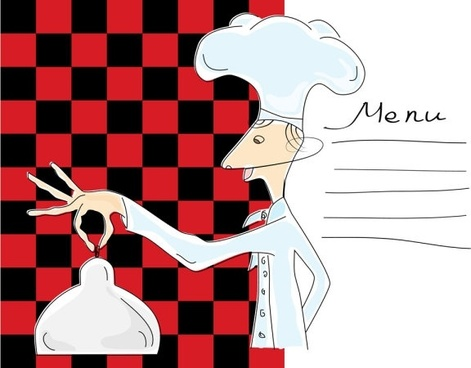 cartoon image of chefs and waiters 03 vector