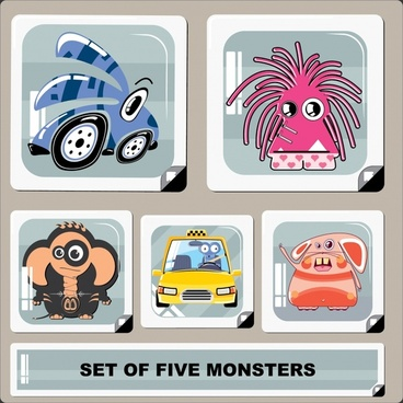 cartoon monster characters icons funny colored flat sketch