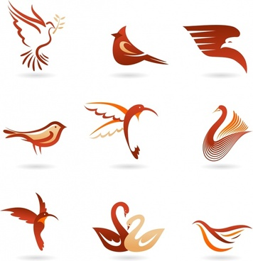 decorative bird icons flat swirled sketch