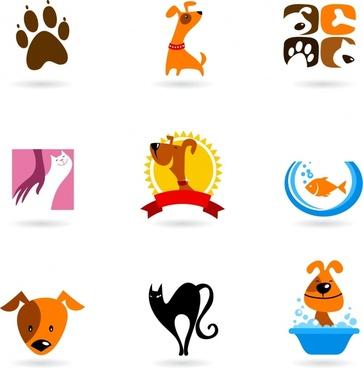 pets icons flat symbols sketch