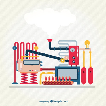 cartoon industrial machine vector graphics