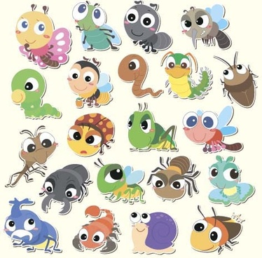 cartoon insects cute vectors