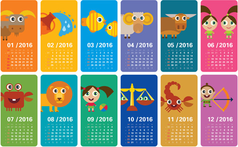 cartoon kids with animal banner calendar16 vector