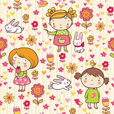 cartoon kids with floral seamless pattern vector
