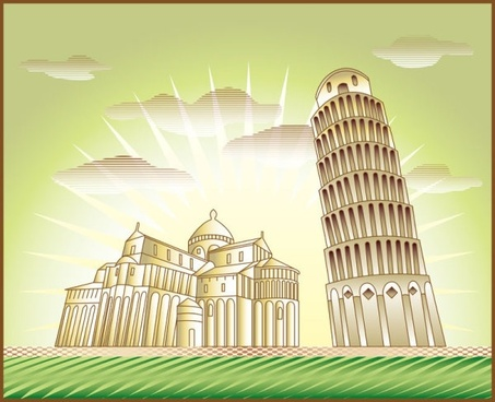 cartoon landmark 05 vector