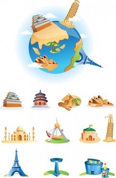 cartoon landmarks vector