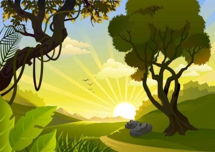cartoon landscape background vector graphics