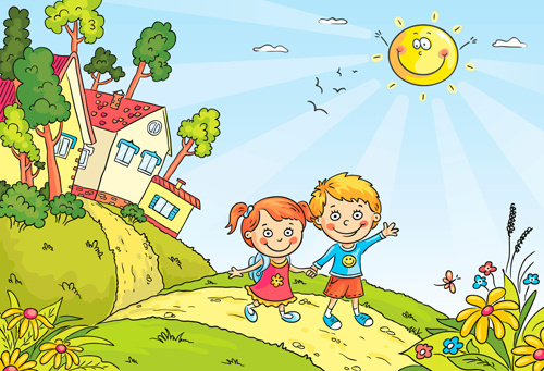 cartoon landscape hand drawn vectors
