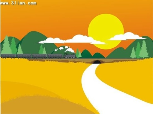 landscape painting field tunnel train icons cartoon design