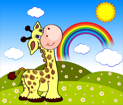 cartoon landscape with giraffe and rainbow