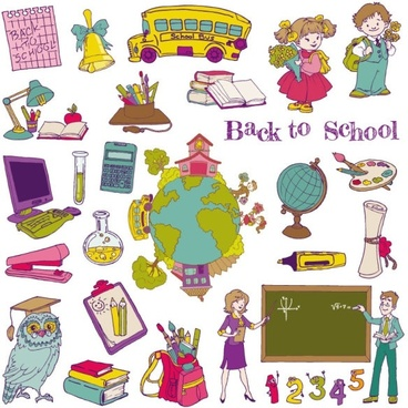 cartoon learning items 01 vector
