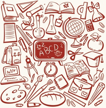 cartoon learning items 02 vector