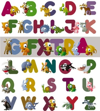 cartoon letters vector
