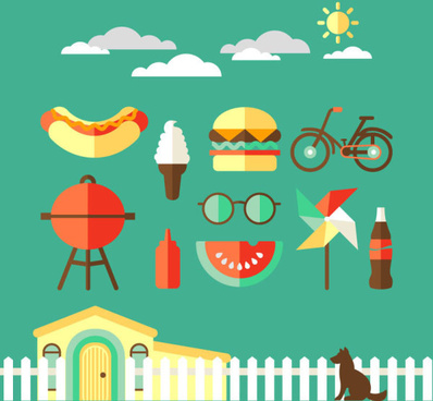 cartoon life elements creative vector