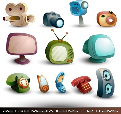 appliances icons colored 3d design retro modern illustration