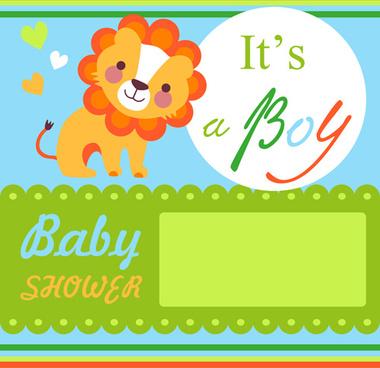 cartoon lion with baby card vector