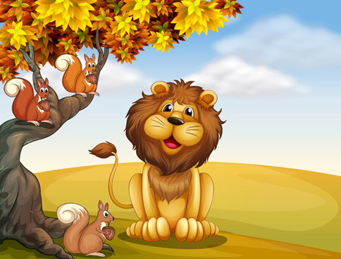 cartoon lion with beautiful nature vector