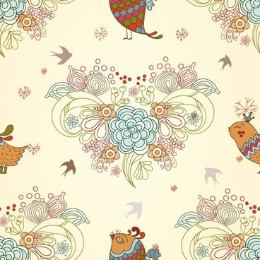 cartoon love birds pattern 03 vector