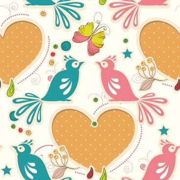 cartoon love birds pattern 05 vector
